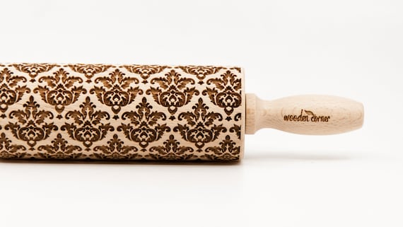 VICTORIAN STYLE 3 pattern, Rolling Pin, Engraved Rolling, Rolling Pin, Embossed rolling pin, Wooden Rolling pin