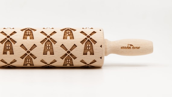 WINDMILLS pattern, Rolling Pin, Engraved Rolling, Rolling Pin, Embossed rolling pin, Wooden Rolling pin