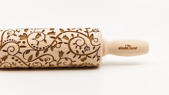 FLOWERS & BIRDS , Rolling Pin, Embossed rolling pin, Wooden roller engraved, Embossing Cookies, Wooden Toys,Stamp, Baking Gift, Birthday