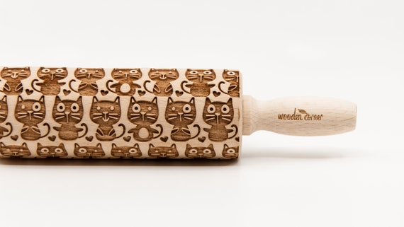 CATS 4 - pattern, Rolling Pin, Engraved Rolling, Rolling Pin, Embossed rolling pin, Wooden Rolling pin