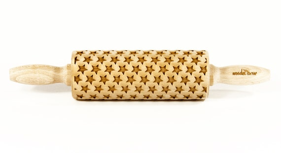 Small cute Stars, MIDI Rolling Pin, Engraved Rolling, Rolling Pin, Embossed rolling pin, Wooden Rolling pin, Kids' toys