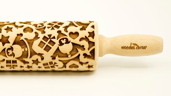 Santa Claus - Rolling Pin, Embossed rolling pin, Wooden roller engraved, Embossing Cookies, Wooden Toys,Stamp,Christmas presents