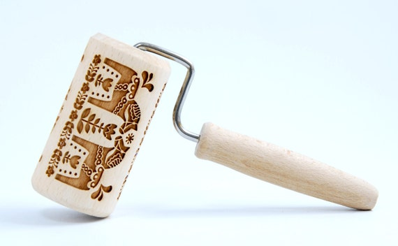 Scandinavian PATTERN - Vikings - MIDI Embossing rolling pin, engraved rolling pin