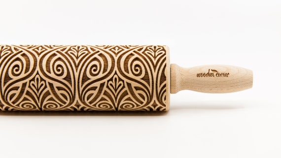 ART DECO 2 pattern, Rolling Pin, Engraved Rolling, Rolling Pin, Embossed rolling pin, Wooden Rolling pin