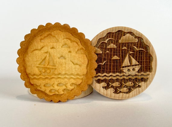 No. 044 Wooden stamp deeply engraved Marine, nautical, Christmas gift, Wooden Toys, Stamp, Baking Gift, Christmas tree