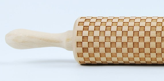 the squares -  laser engraved rolling pin, embossing rolling pin