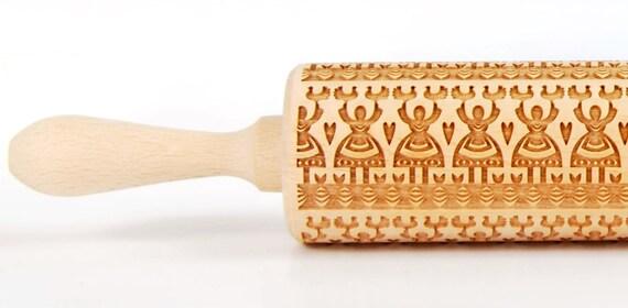 Leluja II,  Polish folk pattern, Embossing rolling pin, Engraved rolling pin
