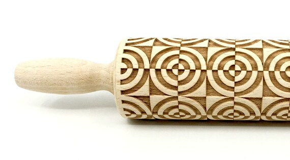 Geometric 5, Rolling Pin, Embossed rolling pin, Wooden roller engraved, Embossing Cookies, Wooden Toys,Stamp, Baking Gift, Birthday