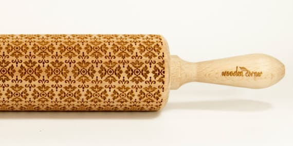 The Victorian Style II Rolling Pin Engraved Rolling Pin Gift Rolling Pin Rolling PiN for Embossed Cookies Wooden Rolling pin