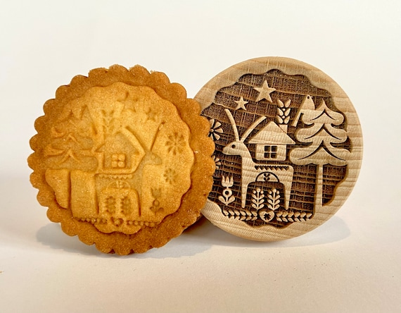 "No. 036 Wooden stamp deeply engraved ""Merry Christmas"""