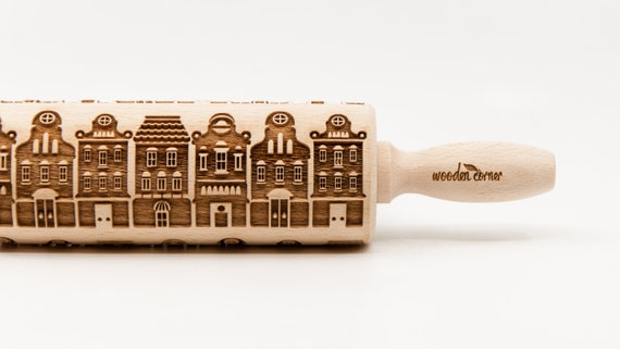 GDANSK AMSTERDAM pattern, Rolling Pin, Engraved Rolling, Rolling Pin, Embossed rolling pin, Wooden Rolling pin