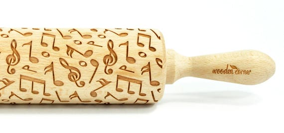 My Tune - Big size Rolling Pin, Engraved Rolling Pin, Rolling Pin, Embossed Cookies, Wooden rolling pin
