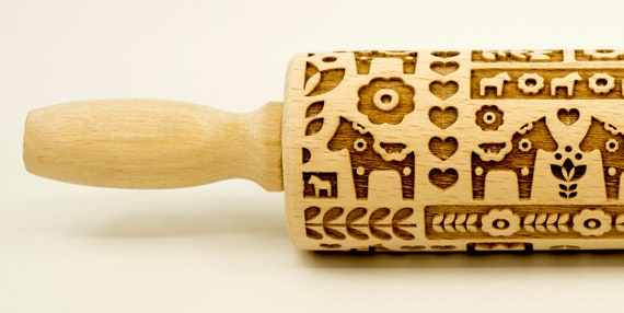 Dala horse MIX - Rolling Pin, Embossed rolling pin, Wooden roller engraved, Embossing Cookies, Wooden Toys,Stamp, Baking Gift, Birthday