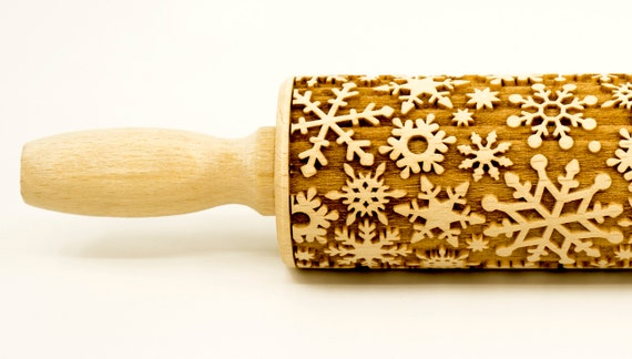 Snowflakes No 4 - Rolling Pin, Embossed rolling pin, Wooden roller engraved, Embossing Cookies, Wooden Toys,Stamp, Baking Gift, Birthday