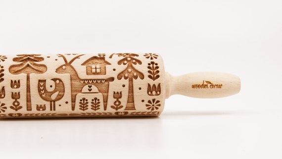 No. R042 North land 3, Christmas BIG size Rolling Pin, Engraved Rolling, Rolling Pin, Embossed rolling pin, Wooden Rolling pin