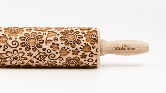 MEADOW FLOWERS, Embossing rolling pin, Engraved Rolling Pin, Embossed Rolling Pin, Wooden Rolling pin