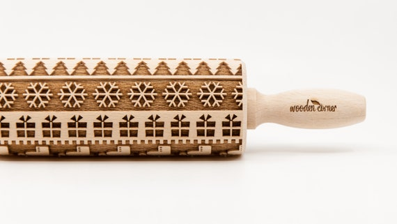 NORTH LAND 4, Christmas Rolling Pin Engraved Rolling Pin, Rolling Pin, Embossed Cookies, Wooden Rolling pin