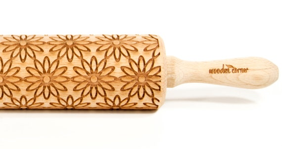 Summer flowers, Embossing rolling pin, Engraved Rolling Pin, Embossed Rolling Pin, Wooden Rolling pin