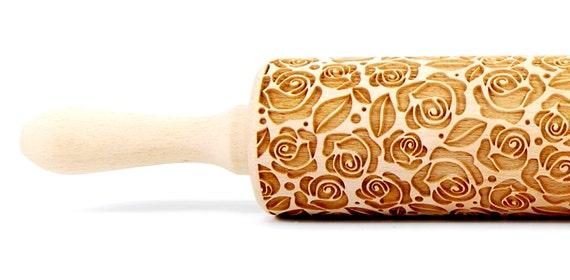 Roses flower pattern Wooden rolling pin Roller Engraved Mother Wife  Sister Daghter Girlfrien gift Housewarming gift