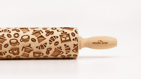 COFFEE TIME MIX - Rolling Pin, Engraved Rolling Pin, Rolling Pin, Embossed Cookies, Wooden Rolling pin