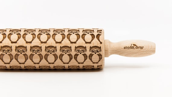 OWLS 2  pattern, Rolling Pin, Engraved Rolling, Rolling Pin, Embossed rolling pin, Wooden Rolling pin