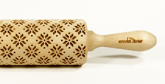 White North Land, Scandinavia, Norway- Big size Rolling Pin, Engraved Rolling Pin, Rolling Pin, Embossed Cookies