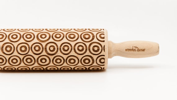 DOUBLE CIRCLES pattern, Rolling Pin, Engraved Rolling, Rolling Pin, Embossed rolling pin, Wooden Rolling pin