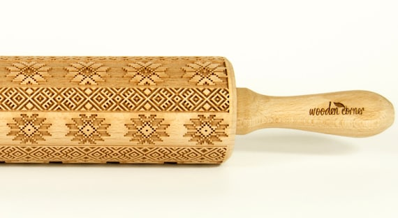 NORWEGIAN PATTERN - Embossing Rolling pin, engraved rolling pin (no.46 )