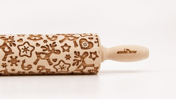 REINDEERS CHRISTMAS MIX pattern, Rolling Pin, Engraved Rolling, Rolling Pin, Embossed rolling pin, Wooden Rolling pin