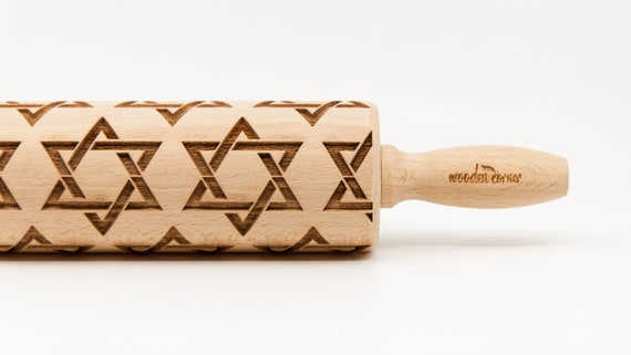 DAVID STAR pattern, Rolling Pin, Engraved Rolling, Rolling Pin, Embossed rolling pin, Wooden Rolling pin