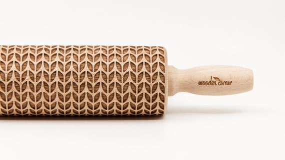 WEAVE WOOL pattern, Rolling Pin, Engraved Rolling, Rolling Pin, Embossed rolling pin, Wooden Rolling pin