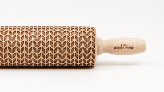 WEAVE WOOL pattern, Rolling Pin, Engraved Rolling, Rolling Pin, Embossed rolling pin, Wooden Rolling pin