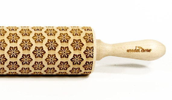 Kimono Flowers 1 - Big size Rolling Pin, Engraved Rolling Pin, Rolling Pin, Embossed Cookies, Wooden Rolling pin