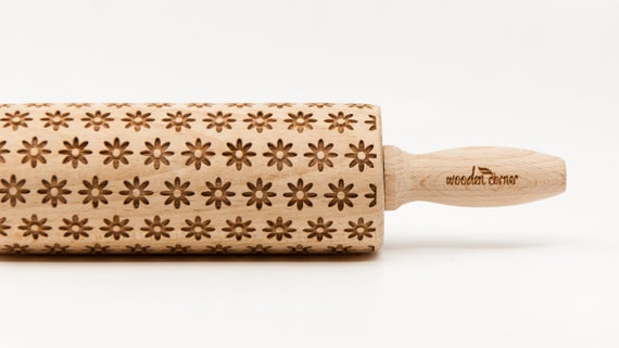 SPRING FOWERS embossing rolling pin, laser engraved rolling pin