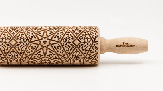 ALHAMBRA 8 Rolling Pin, Engraved Rolling, Rolling Pin, Embossed rolling pin, Wooden Rolling pin, Kids' toys