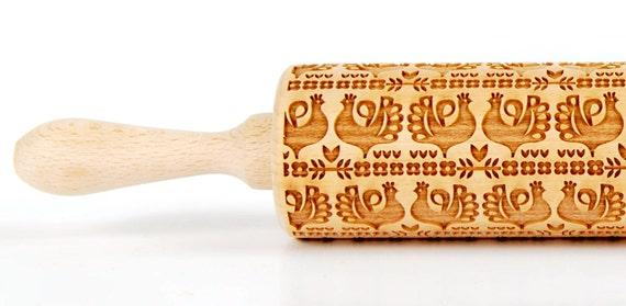 Polish folk pattern -KURPIE hens , Embossing Rolling pin, Engraved rolling pin
