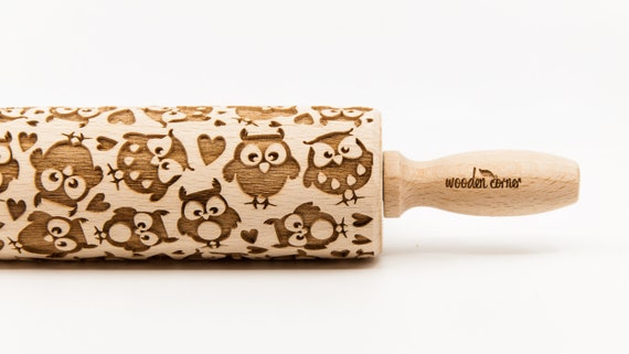 OWLS  3 - Rolling Pin, Embossed rolling pin, Wooden roller engraved, Embossing Cookies, Wooden Toys,Stamp, Baking Gift, Birthday