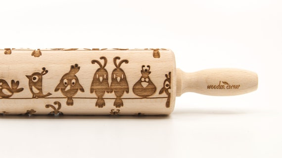SITTING BIRDS - Embossing Rolling pin, engraved rolling pin (no. 185)