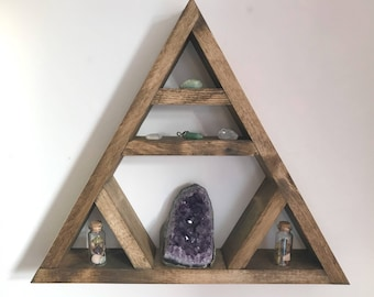 Triangle shelving, holistic and healing, geometric, reclaimed wood