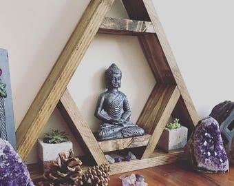 Altar shelf, THE ORIGINAL DESIGNER, chakra, Triangle shelf, display shelf, crystal shelf, gems, crystals, wood pyramid, amythist, geode, gem