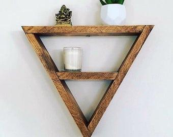 Mini Triangle shelf, display shelf crystals, gems, jewellery, wood pyramid geometric