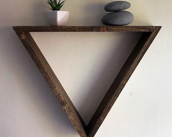 Triangle shelf, large triangle shelf, geometric wall shelf, triangle shelving, floating shelf, wood wall shelf, wood decor, wall shelving
