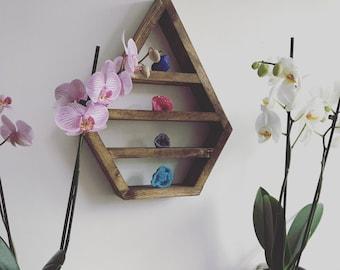 Crystal display shelf, altar, wooden altar, shrine, chakra, diamond shelf, pyramid shelf, bohemian decor, dimond altar, crystals, geodes