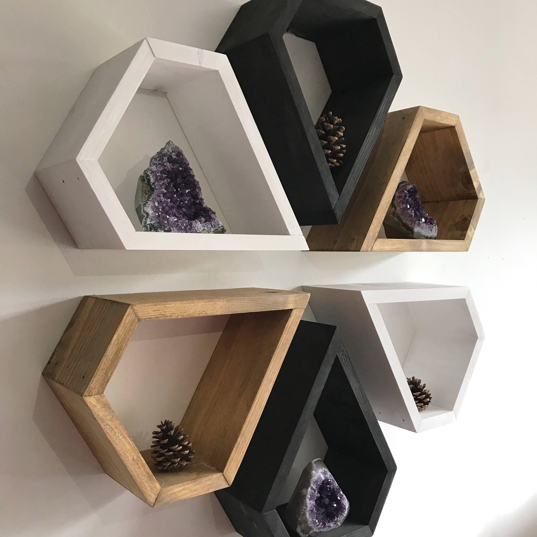 Holz-Wand-Kunst Regal Satz Kasten-Regal Diamant-Regal   Etsy