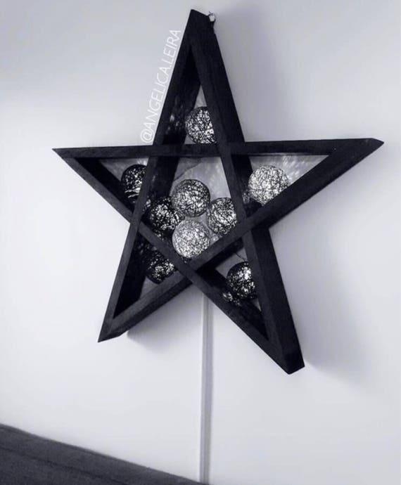 Grote Houten Sterren.Grote Ster Plank Pentagram Plank Ster Decor Geometrische Etsy