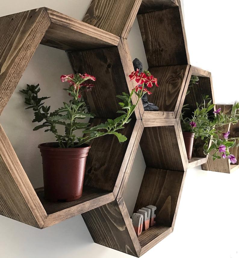 Large Hexagon shelf hexagon shelves honeycomb shelf Jacobean + Jacobean