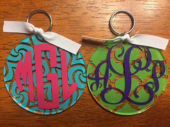 Circle or Vine Monogram  Name  Initial Keychain Lilly Pulitzer  1c203e5d3f7d
