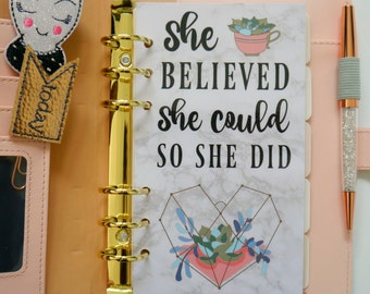 She Believed She Could So She Did Personal, A5, A6, B6 & Pocket Size Planner Dashboards