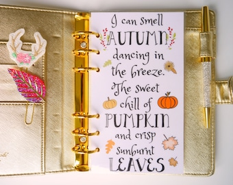 Autumn Quote Personal, A5, A6, B6 & Pocket Planner Dashboards