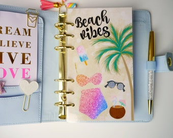 Beach Vibes Personal, A5, A6, B6 & Pocket Size Planner Dashboard